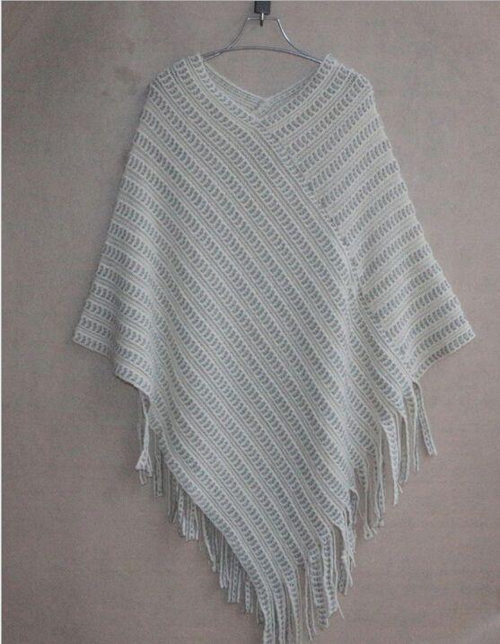 Autumn/Winter Women Sweaters Fashion2015 Plus Size Blouse Cape Geometric Shawl Cotton Sweater Loose Bat Shirt Women Tassel Poncho Cape Coats
