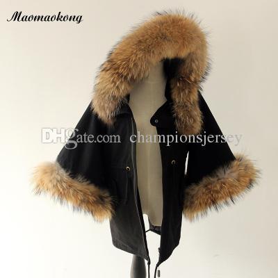 Реальные енотовые меха Женские пальто для отдыха пальто Poncho Women Loudspeaker Sleeve Cloak winter Coat Japan Korean