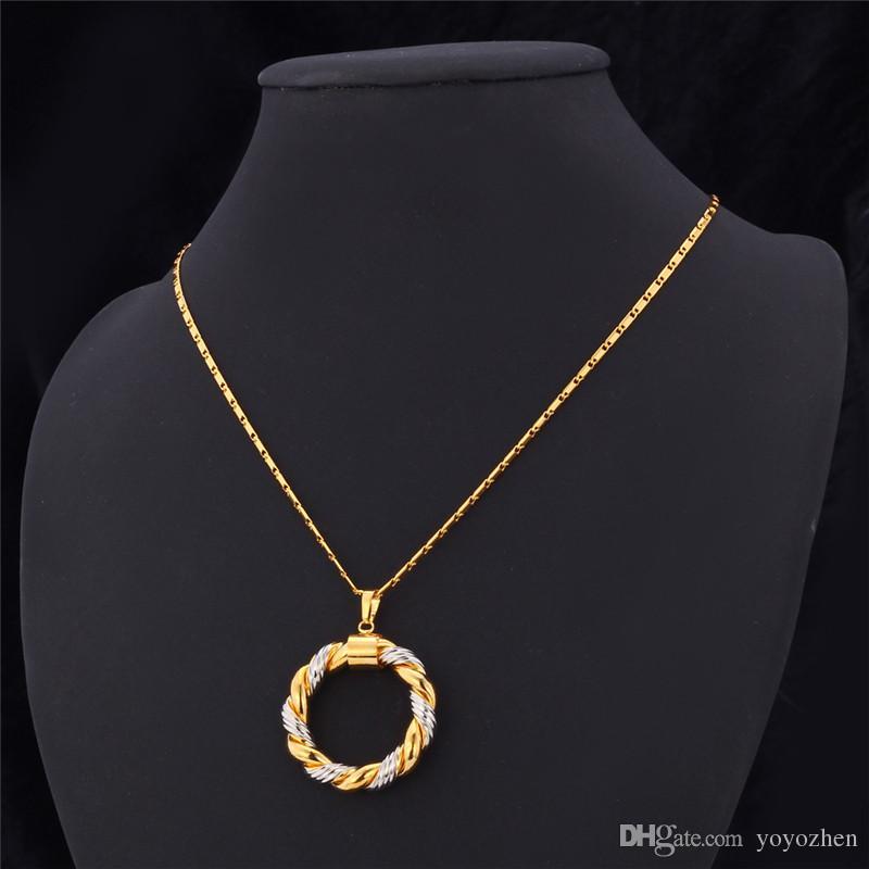 2015 نغمتين مجموعة الذهب والمجوهرات قلادة مجموعة البلاتين / 18K مطلية بالذهب الحقيقي العصرية قلادة أقراط هوب المرأة