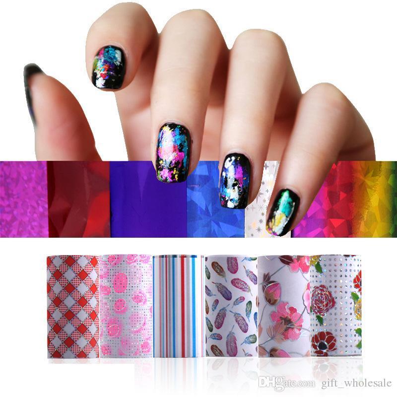 2015 envío gratis 6 rollos Nail Art Foils Set Symphony hoja de transferencia de uñas Sticker Foil + Glitter + Adhesive /