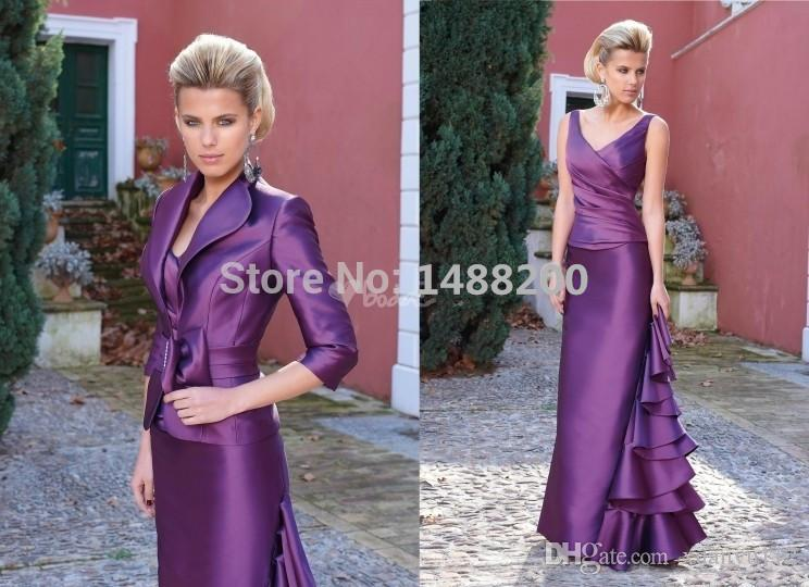 Mingli Tengda Long Purple Satin Mother of the Bride Dresses with 3/4 Sleeves Jacket Plus Size Vestido Madrinha Pageant Groom Mother Outfits