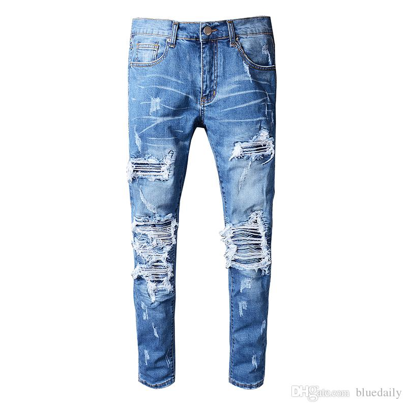 46a36a2cb81 2019 New Italy Style Mens Distressed Destroy Pants Knee Ribbed Patches Blue Denim  Skinny Biker Jeans Slim Trousers Size From Bluedaily, $74.91 | DHgate.Com