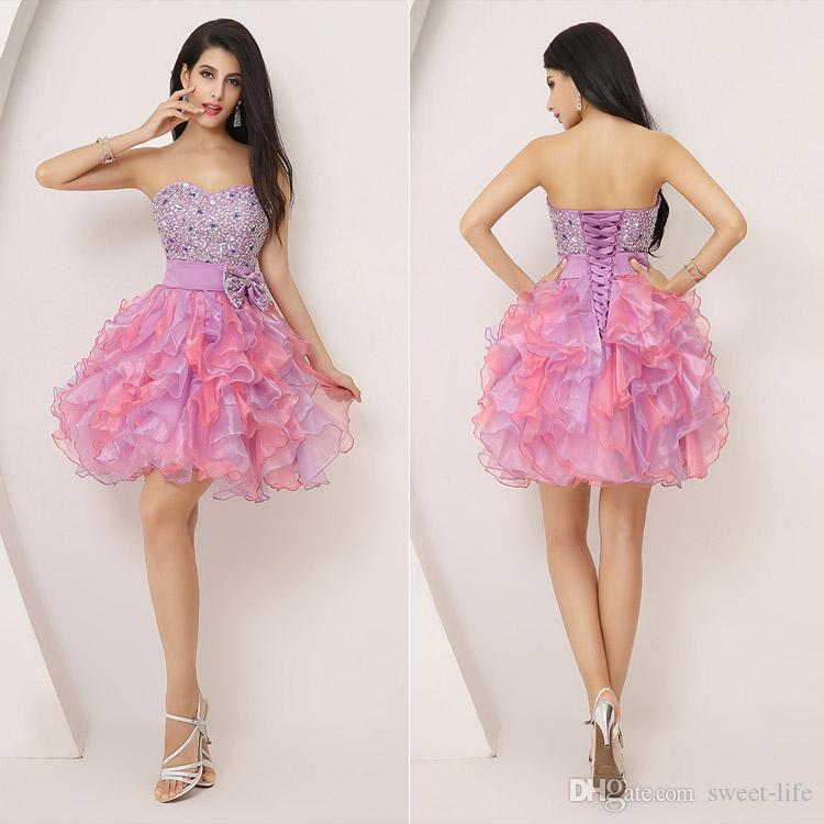 2015 Short Homecoming Dresses Cheap Ball Gown Mint Organza ...