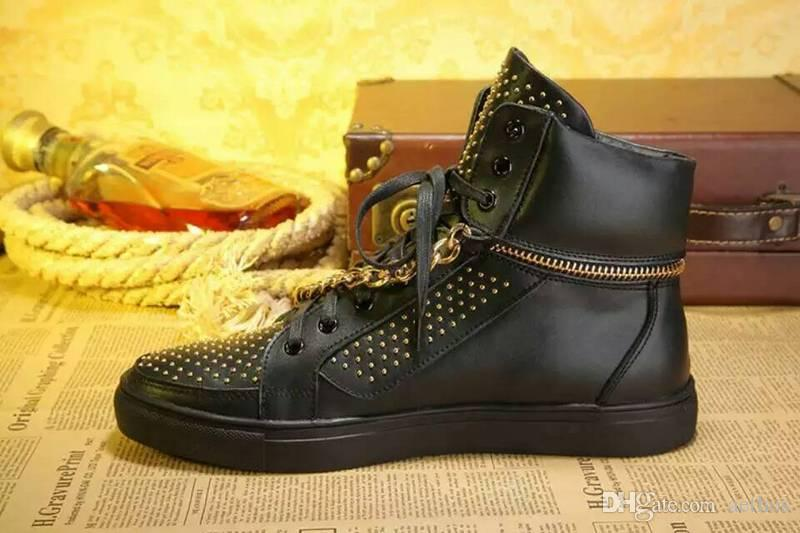 Brand Men's Winter Outdoor metal chain rivets fashion high top lace-up work tooling Martin boots casual sports skateboarding shoe,39-45