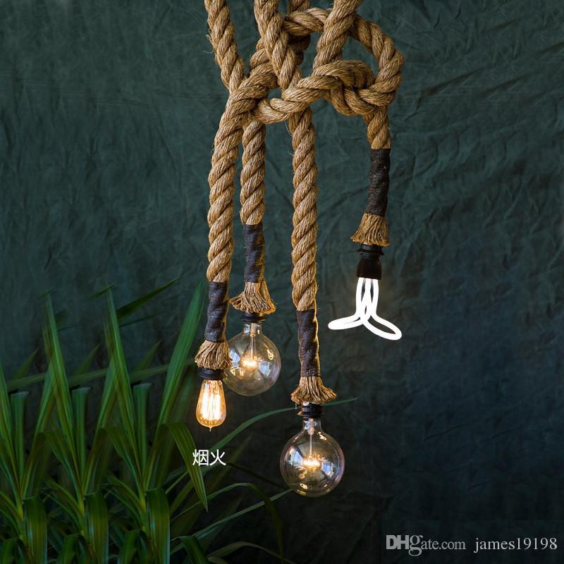 Wholesale-Vitage Loft Rope Pendant Light Industrial Edison Lamp American Style E27 / E14 110V / 220V 2,5m för loft kaffebar restaurang