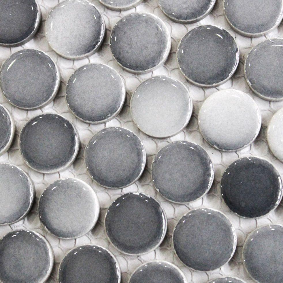 Best Gray Penny Round Tile Light Grey Gradient Dark Gray Mosaics