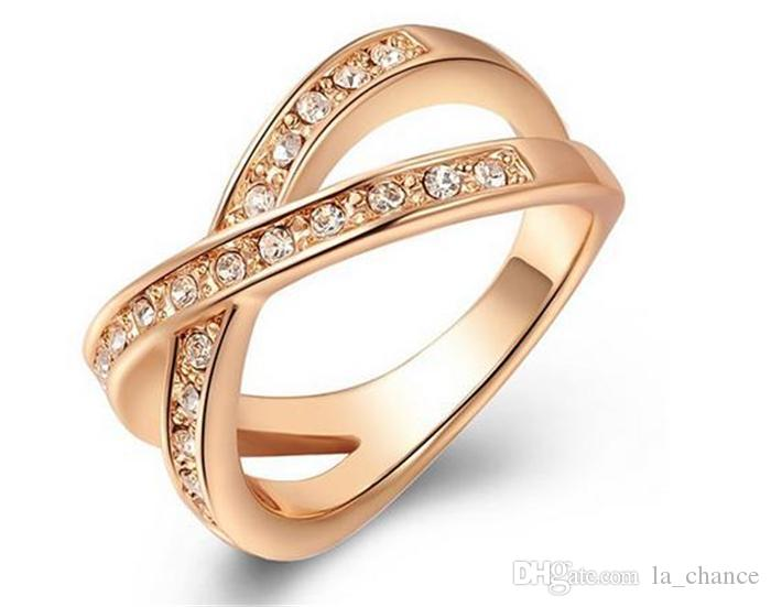 Luxury Austria Crystal Rose Gold Ring New Arrival Plated Gold Crossing Shape With Full Shining Diamond Free Shipping Various Size