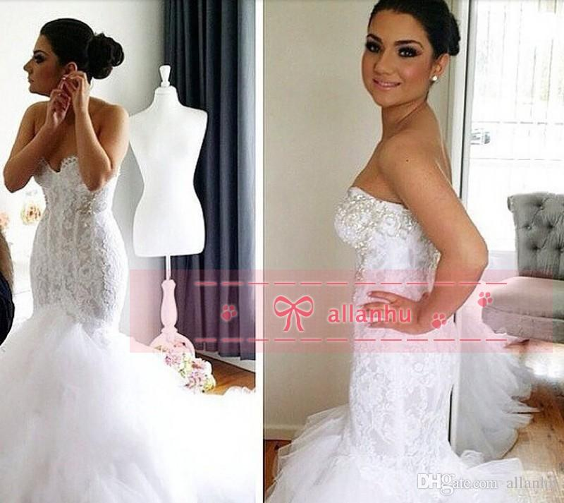 Discount Luxury 2017 New Designer A Line Lace Wedding Dresses Long ...