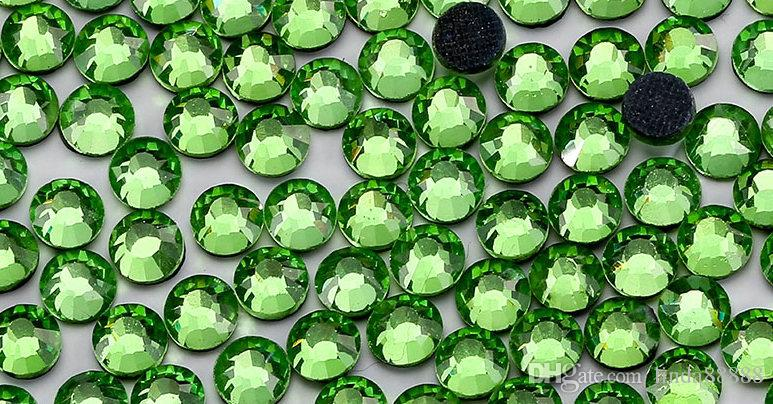 Small Bag Flatback Shiny Glass Fruit Green Heat Transfer Peridot Iron On Rhinestones