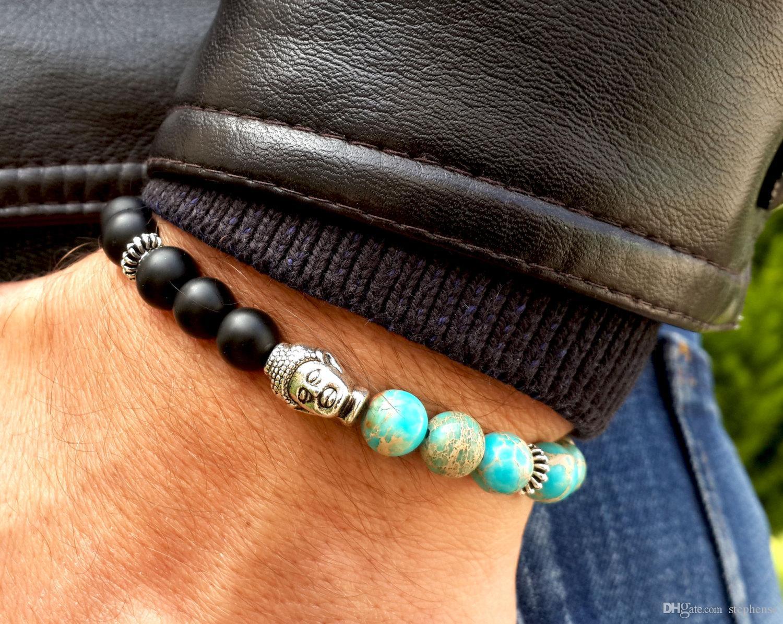 SN0271 Mens Buddha Mala Pulseira Blue Sea Magnesita Jasper Black Onyx Oração Boêmio Budista Homens Pulseira