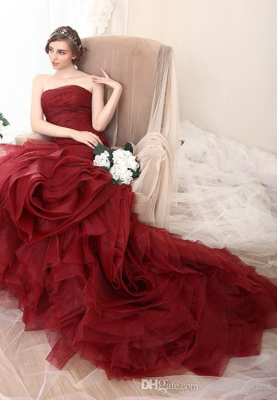 New Arrival Burgundy Wine Red Mermaid Gothic Wedding Dresses Sweetheart Pleats Tulle Bodice Ruffles Corset Back Colorful Bridal Gown