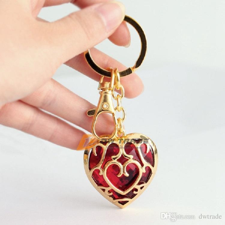 DHL i The Legend of Zelda collana ciondolo in cristallo cuore e portachiavi rosso blu catena chiave portachiavi amore forma J010801 #