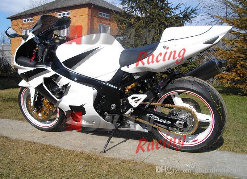 Envío gratis + 8 regalos Blanco y negro son las carreras del color principal para Suzuki GSXR 600 750 2001-2003