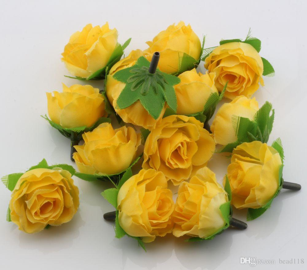 عرض ساخن ! الشاي الأصفر روز زهرة رئيس الزهور الاصطناعية الزفاف زهرة 3CM