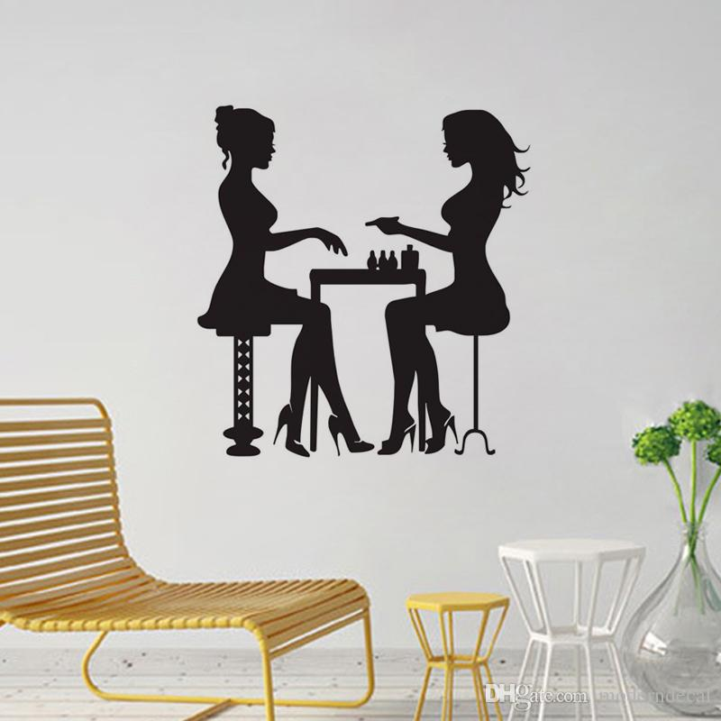 Two Girls In Manicure Salon Wall Decals Vinyl Fashion Wall Stickers ...