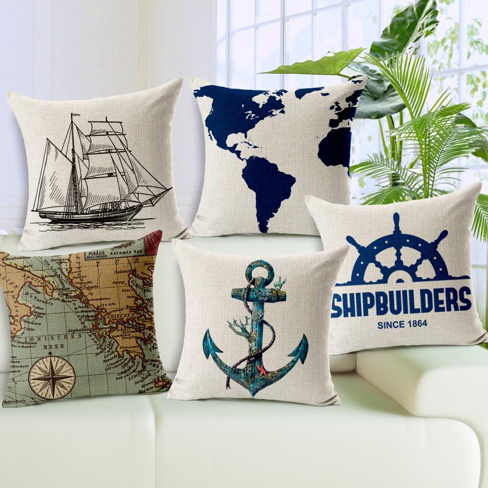 45x45cm Sea Sailing Sofa Cushion Covers Boat World Map Anchor Pillow Case  Linen Cotton Pillow Covers Wedding Decoration For Home Gift Pillow Cases ...