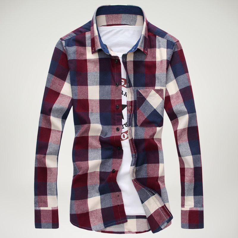Discount 2015 New Fashion Plaid Long Sleeved Shirts Men, Casual ...