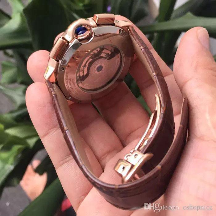 Высокое качество мужской моды часы Все суб-набор работ движение часы Moon Phase DayDate механическая автоматическая wristwatche для подарка мужской rejoles