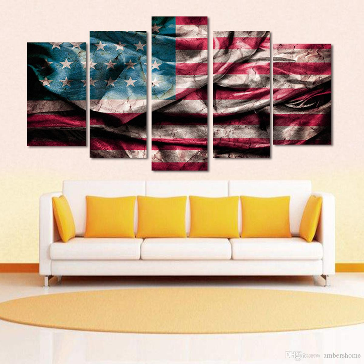 Five Couplet Rostalgic American Hand-painted Painting Canvas Art ...