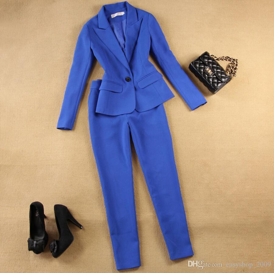 Women's Business Suits Formal Office pant Suits female Work wear Sets One Button Uniform Designs Blazer Suit Jacket Set