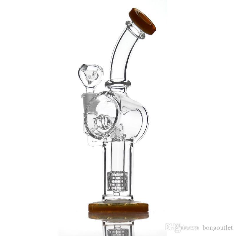 El más nuevo diseño de vidrio bongs de agua doblado nect dab rig vidrio tubo de agua para fumar viene con un tazón macho de 14 mm