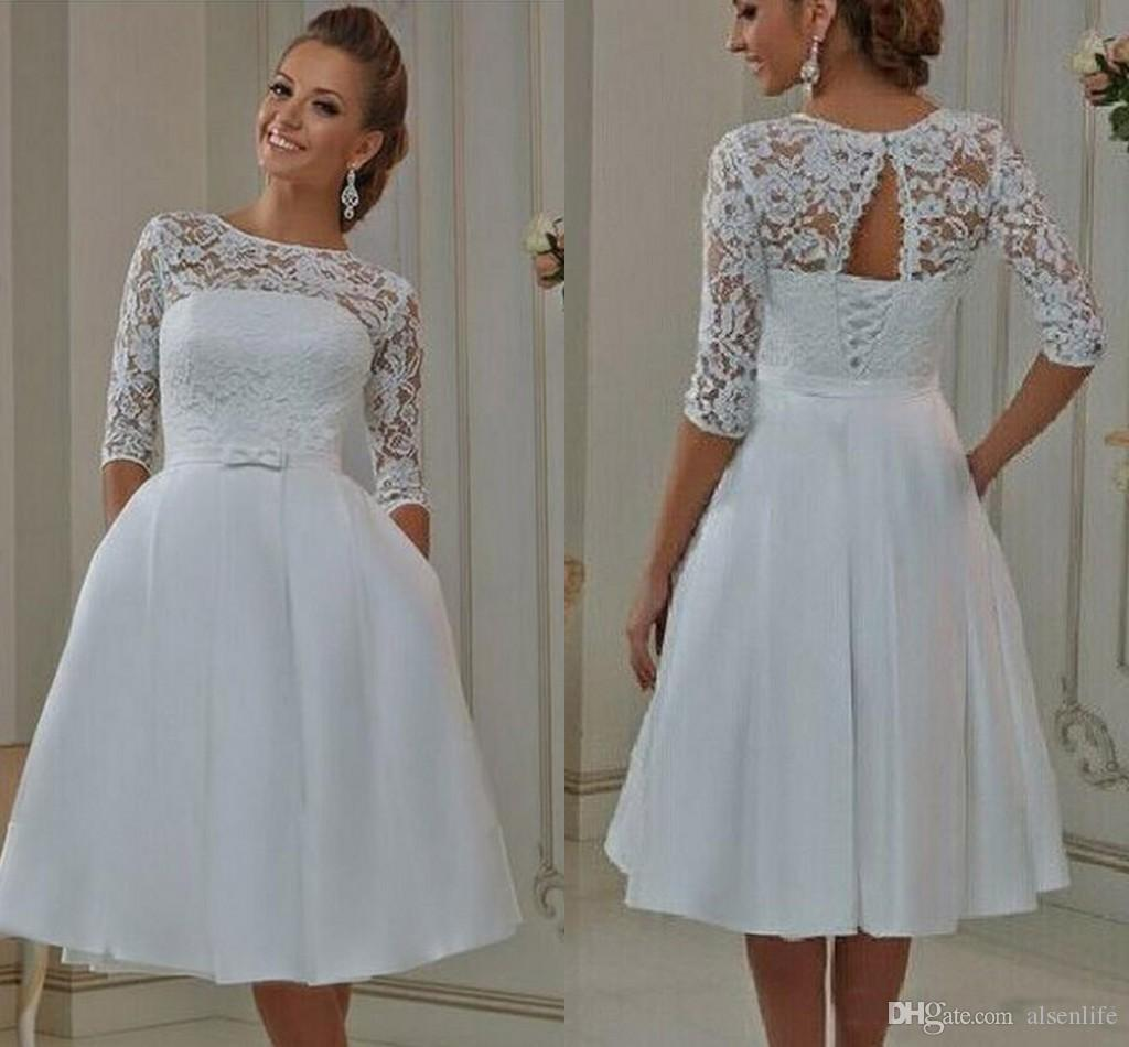 Modest Vintage Lace Wedding Dresses A Line Sheer Neck Lace Up Short Wedding Bridal Gowns With Pocket Half Sleeves plus size wedding dresses
