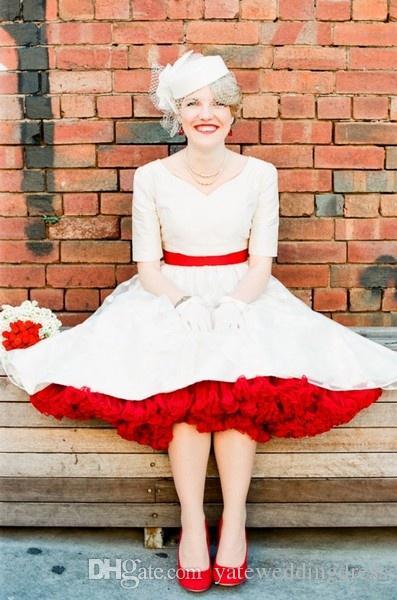 레드 Ruched 페티코트 다채로운 사용자 정의 만든 얇은 명주 그물 속치마 웨딩 드레스 정장 가운 1950 년대 스타일 페티코트 신부 액세서리