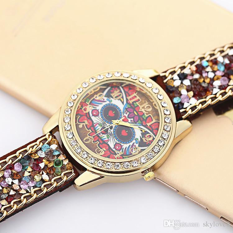 Special New Cartoon Geneva Rhinestones Stone Watches Velvet Belt Buckle Watch Luxury Diamond Women Alloy Watches Owl Wristwatch