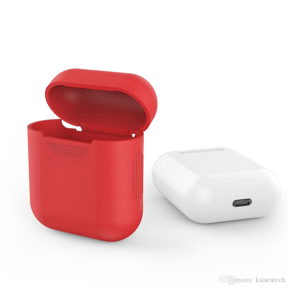 hot sale online 6e473 fad42 New wholesale Soft Silicone Skin Case for Apple Airpods charging case  Protective Cover Air pod Shock Proof coque capa fundas Pink white