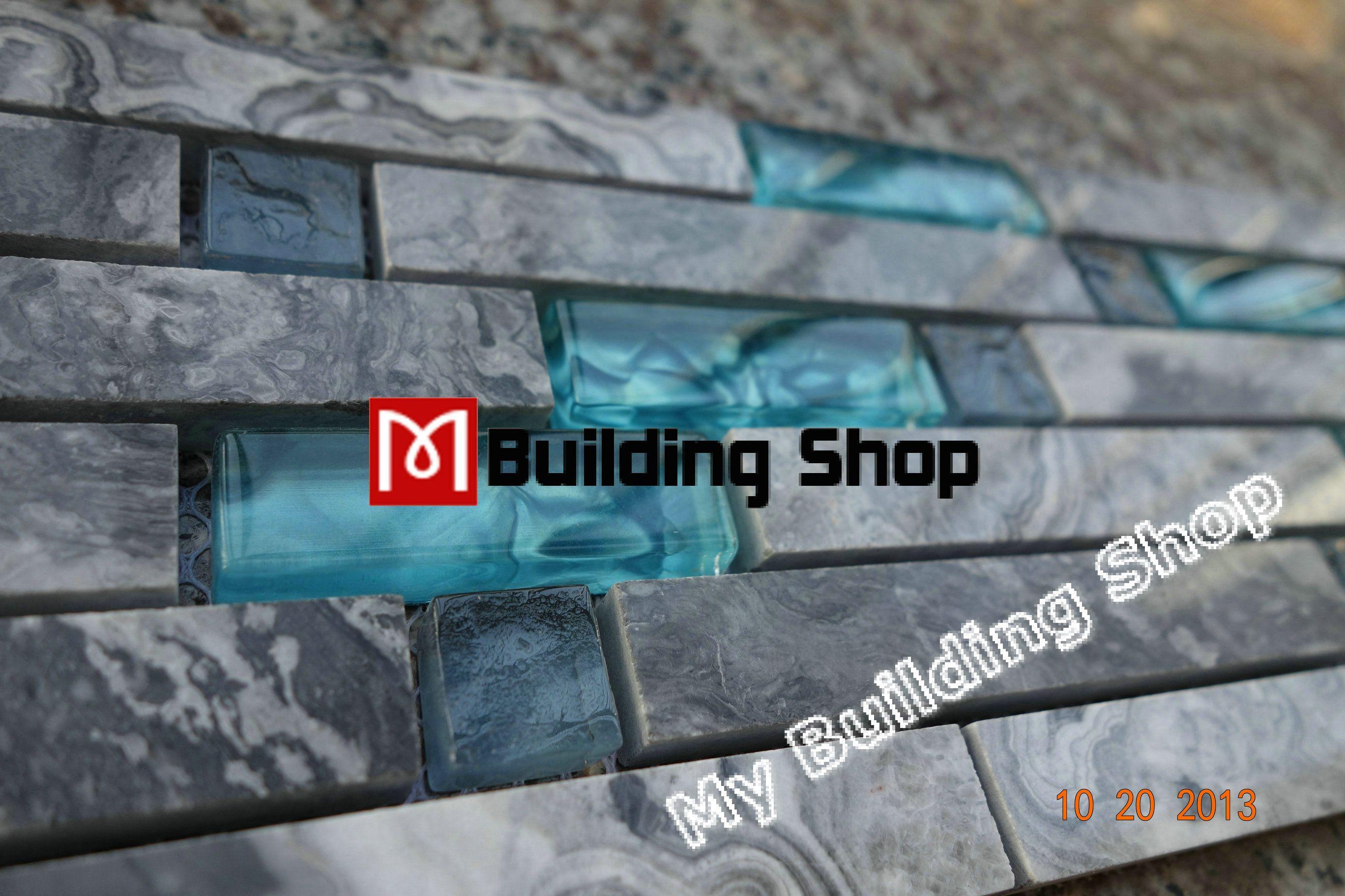 piastrelle backsplash cucina mosaico parete di vetro blu delle ... - Blu Piastrelle Del Bagno Mosaico