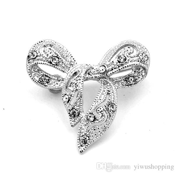 ! Top Jewelry Wholesale Rhodium Silver Plated Clear Crystal Rhinestone Small Size Brooches and Pins Gift