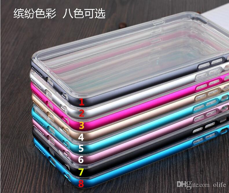 Luxury Hybrid Metal Aluminium Frame Bumper Soft Clear Transparent Crystal TPU cover case for Iphone 6 6S 5 5S 6+ Plus