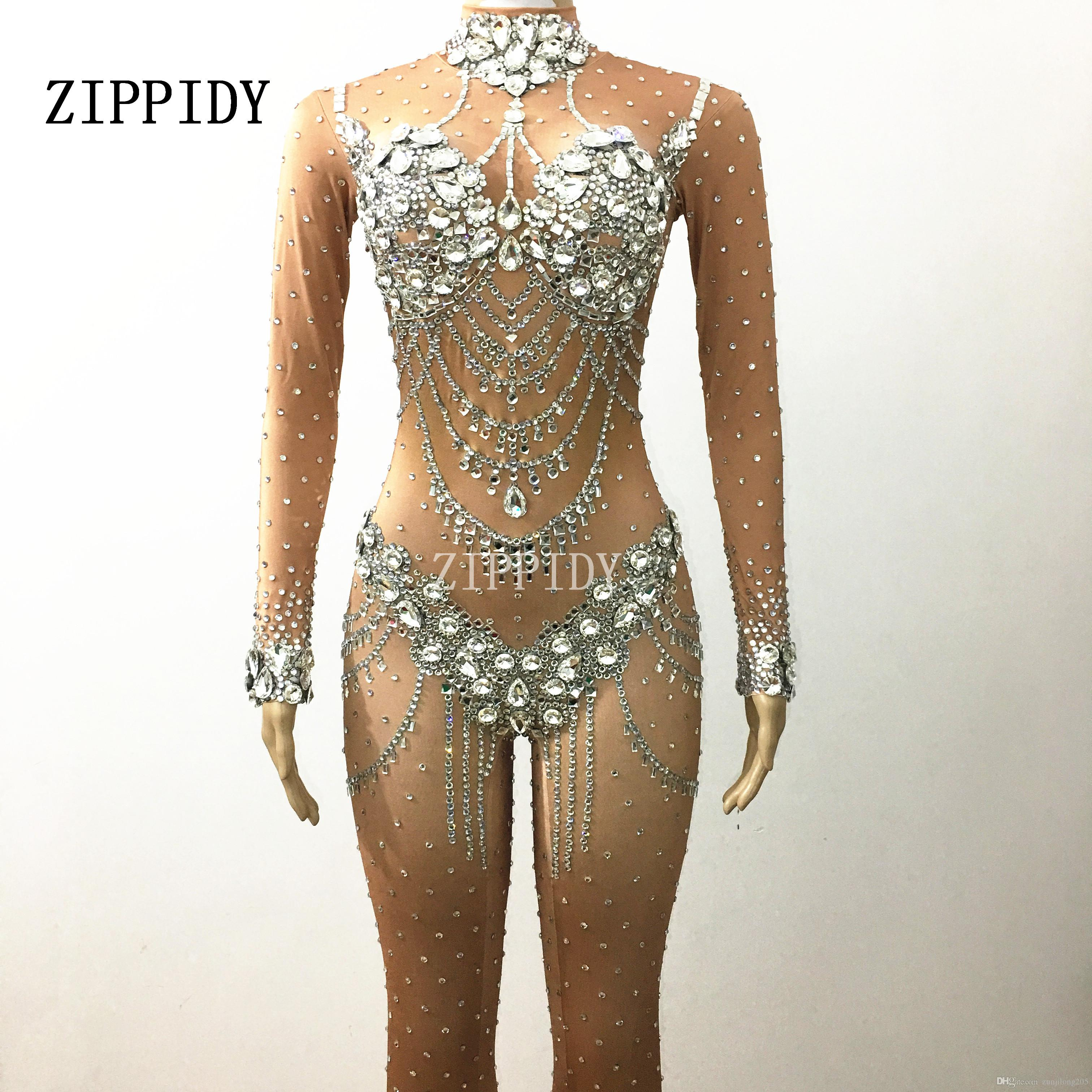 f4081a858f1b 2019 Sparkly Crystals Nude Jumpsuit Stretch Stones Outfit Celebrate Bright  Rhinestones Bodysuit Costume Female Singer Birthday Dress From  Zunjilong205, ...