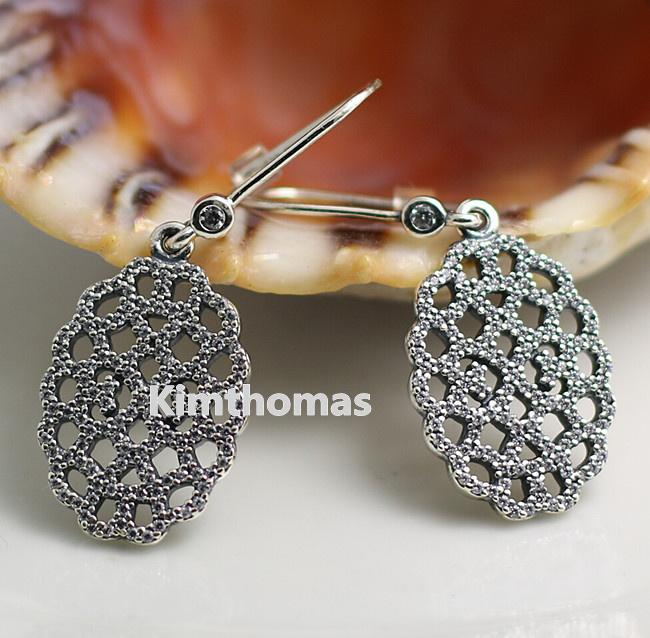 53a5c7520 2019 925 Sterling Silver Shimmering Lace Dangle Earrings With Clear Cubic  Zirconia Fits European Pandora Style Charms Jewelry From Kimthomas, ...