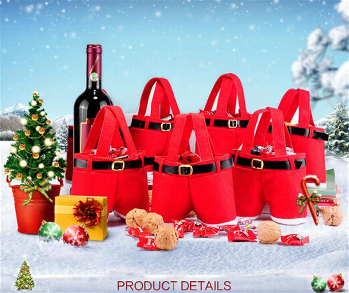 200pcs best price red bag Xmas Bag For Children Santa pants style Christmas Decoration Christmas Wedding Candy Bags christmas gift D395