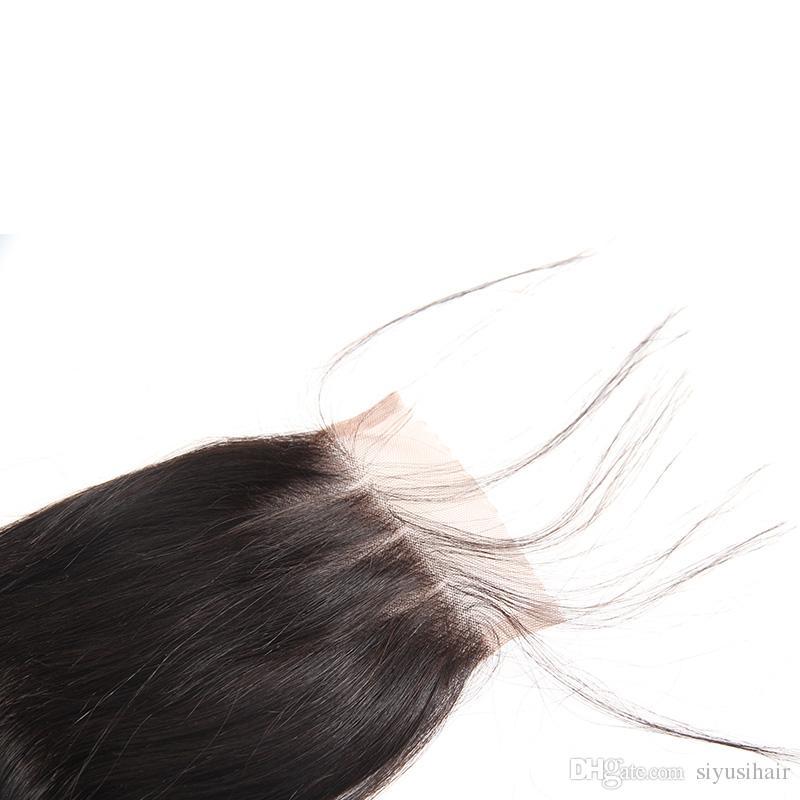 Peruvian Malaysian Brazilian Virgin Human Hair 4*4 Lace Closure Body Wave Straight Water Wave Loose Deep Wave Kinky Curly Hair Closures
