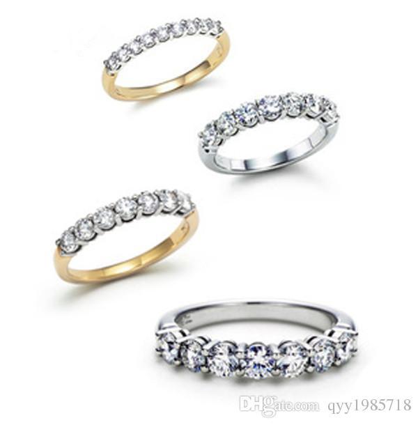 تعزيز نجمة رائعة خاتم الزفاف مجموعة الاصطناعية الماس خواتم الزفاف للنساء 925 الفضة خاتم 18 كيلو مطلية بالذهب والمجوهرات الدائري