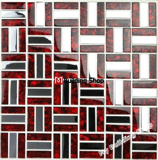 2018 Red Glass Mosaic Stainless Steel Tile Backsplash