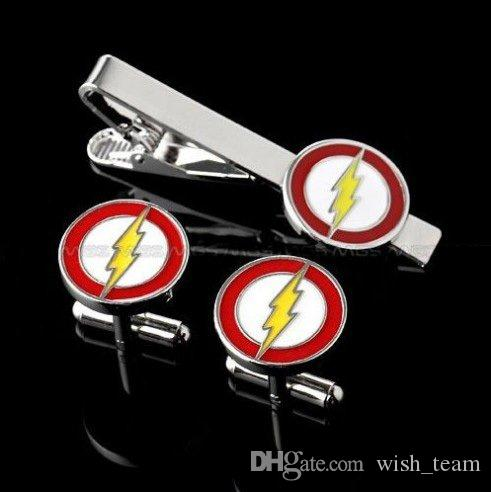 Flash Superhero Logo Silver tone Enamel Cuff Link and Tie Clip Sets For Shirt Best gift Fashion Jewelry W385