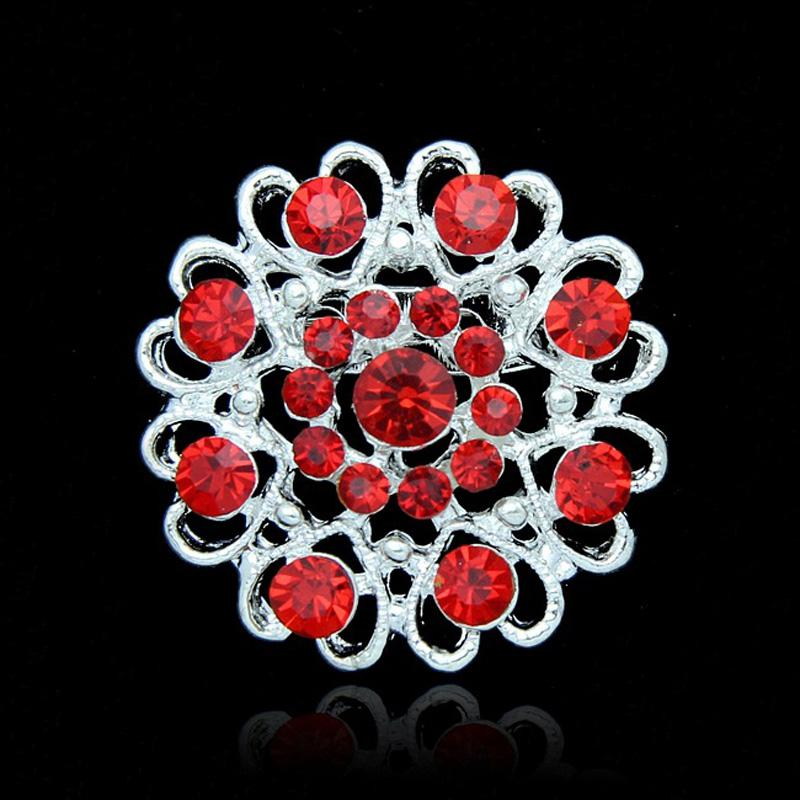 Crystal Rose Brooch Heart Flowers brooches pins Boutonniere Stick Corsage jewelry for Men Women Jewelry 170265