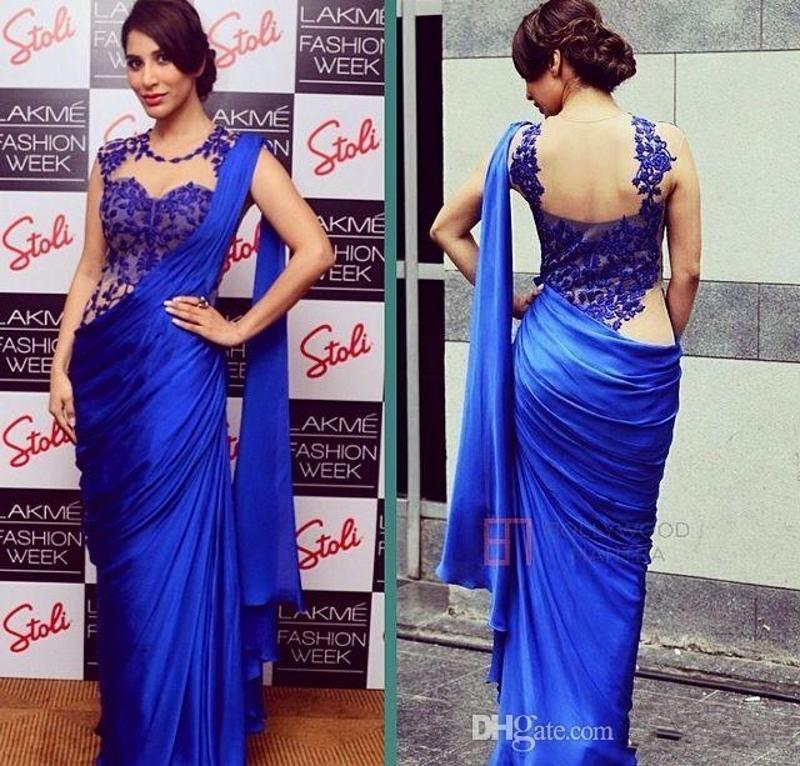 Árabe Mulheres Indianas Vestidos de Noite 2019 New Sexy Azul Royal Barato Bainha Applique Sheer Envoltório Festa Formal Vestidos de Baile Festa Saree 133