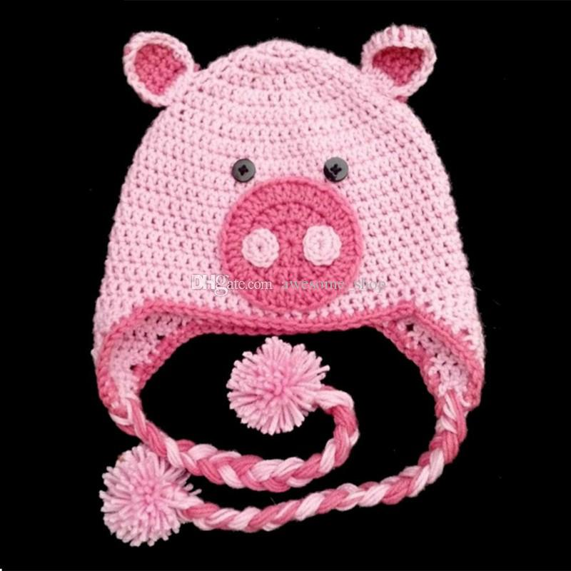 67c3356b6ca 2019 Adorable Pink Pig Animal Earflap Hat