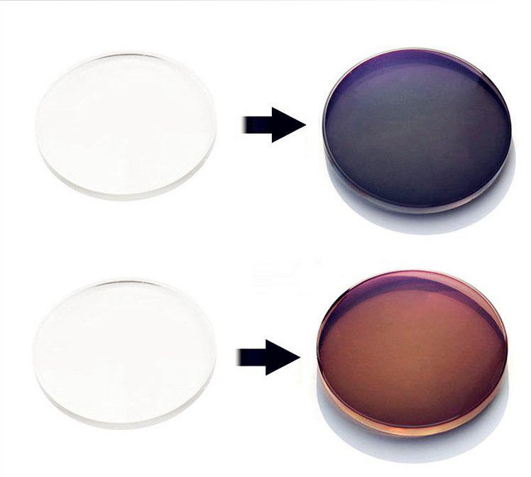 customized 1.56 HMC muti- color photochromic Far/Near-sight Asperic resin glasses lenses SV-8---+6 for prescription sunglasses
