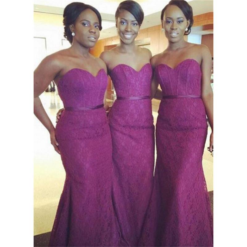 Dark Purple Lace Bridesmaids Dresses 2018 Sweetheart Mermaid Floor ...