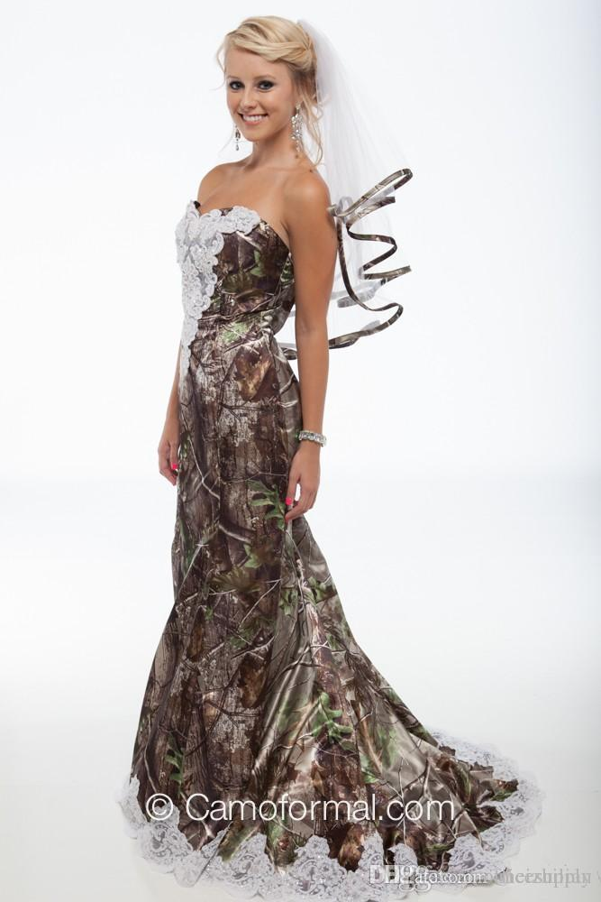 2016 vestidos de boda únicos de Realtree Mermaid Camo Nuevo amor con el cordón blanco Backless Sweep Train Vestidos de boda del bosque por encargo