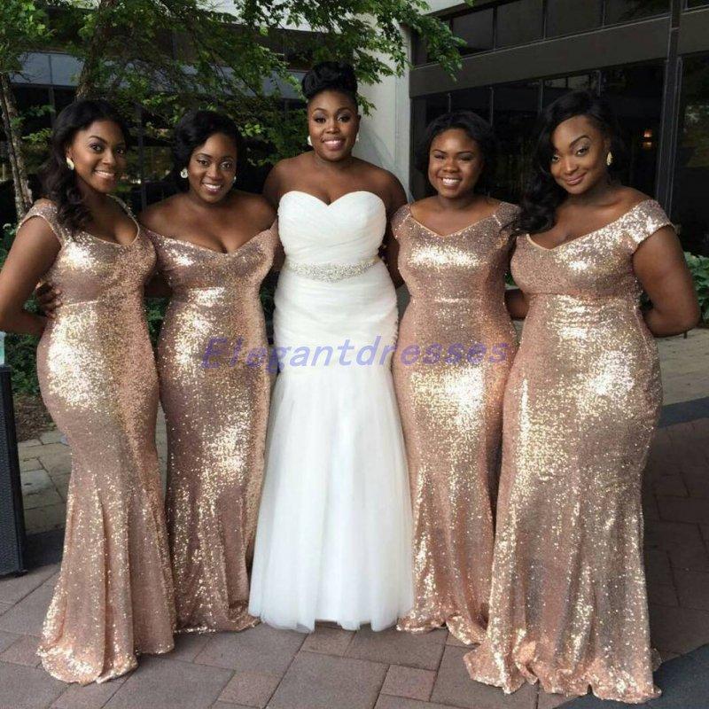 Sparkly Rose Gold Barato 2021 Sereia Dama de Honra Vestidos Off-Ombro Lantejoulas Backless Plus Size Beach Wedding Vestido Bling Bling