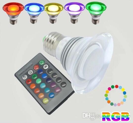 3w Rgb Led Light Bulb Gu10 E27 Screw Base Lighting +24 Key Ir Remote  Control 85 265v Ac 255lm Bright 3 Watt Spot Lights Bulbs Lamp Led Bulb  Bulbs From ...