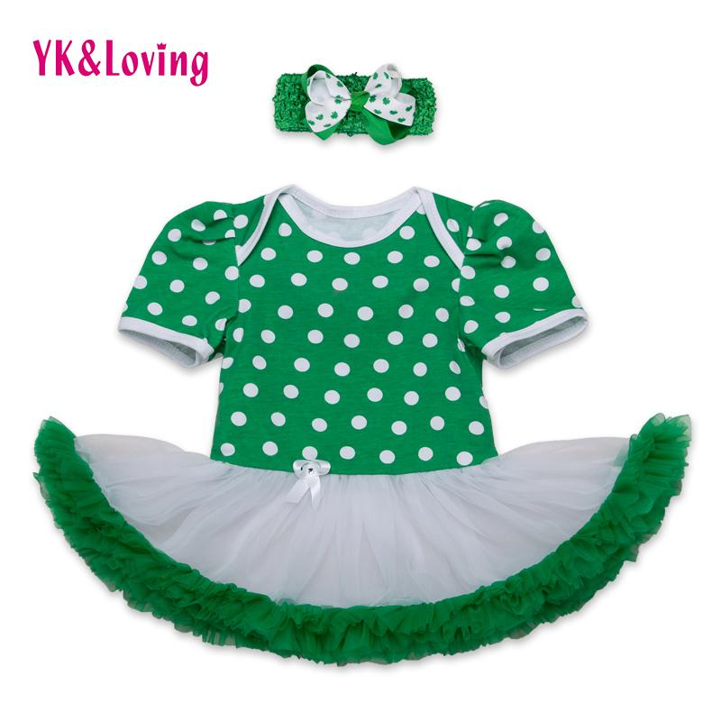 b43c6a044 Wholesale- St Patricks Day Girls Cotton Dress Romper Ruffle Jumpsuit Tutu  Dress Green Newborn Clothes Set for St.Patrick's Day Party RD143S