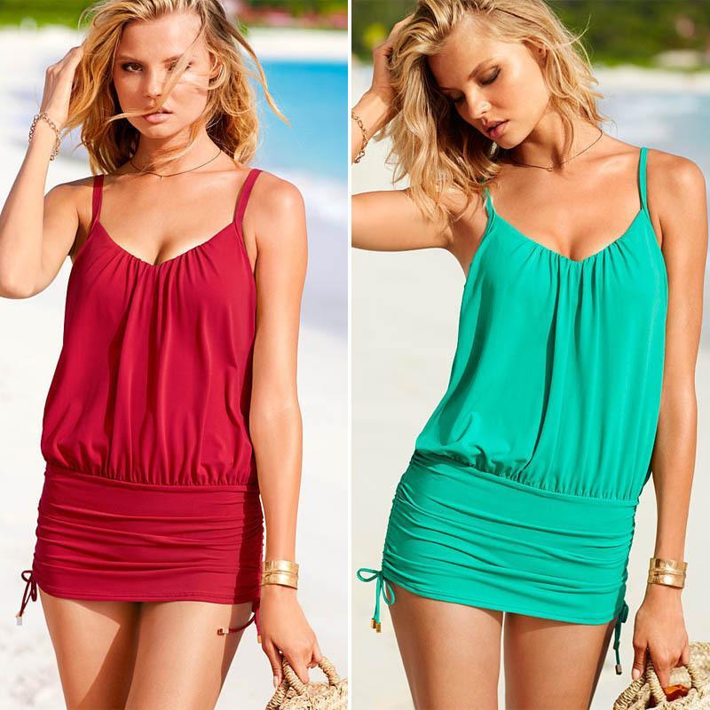 2015 nueva CALIENTE NUEVA llegada Verano ropa de playa Moda Sexy Traje de baño de una pieza Para Mujer Bikini Traje de baño Precio barato real Verde y rojo Color Gratis