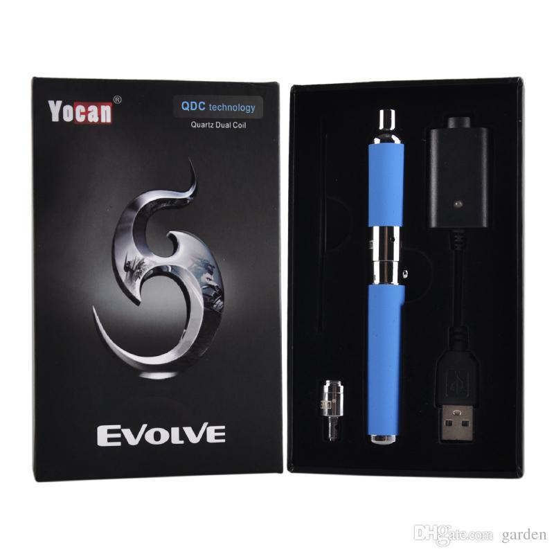 Orijinal Yocan Evolve Başlangıç Kiti 650 mah Kuvars Çift Bobinleri Balmumu buharlaştırıcı Kalem Seti 5 Renkler Vape Kalemler hakiki Ecig Kitleri DHL Ücretsiz 2204020